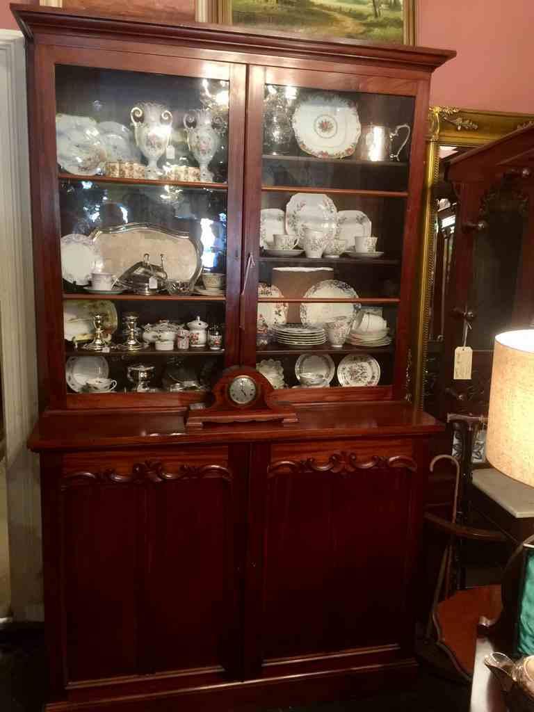 Antique Mahogany Bookcase Cabinet Circa 1880